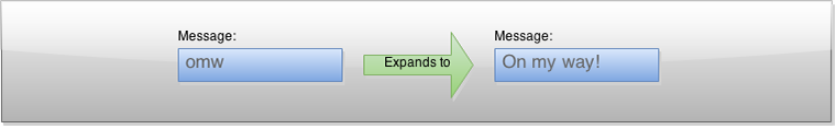 "Text Expander Example - ""omg"" expands to ""On my way!"""